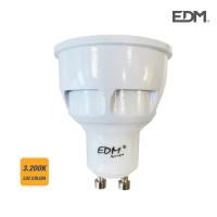 Bombilla dicroica gu10 led 7w 560 lumens 3.200k luz calida apertura 120º edm